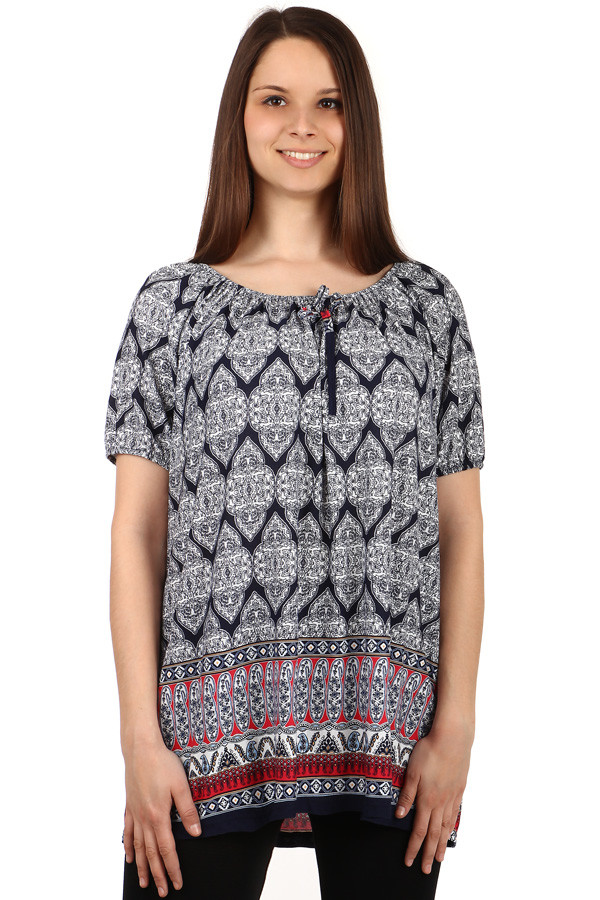 Dámské volné tričko se vzorem - pro plnoštíhlé 27e696bb04