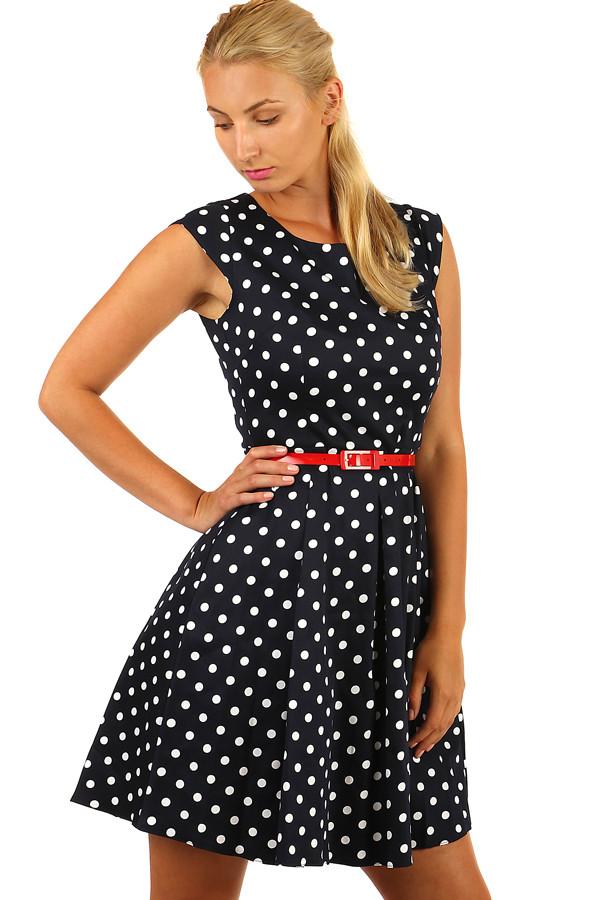 070b2342b4c Tmavě modré áčkové retro šaty s puntíky - i pro plnoštíhlé