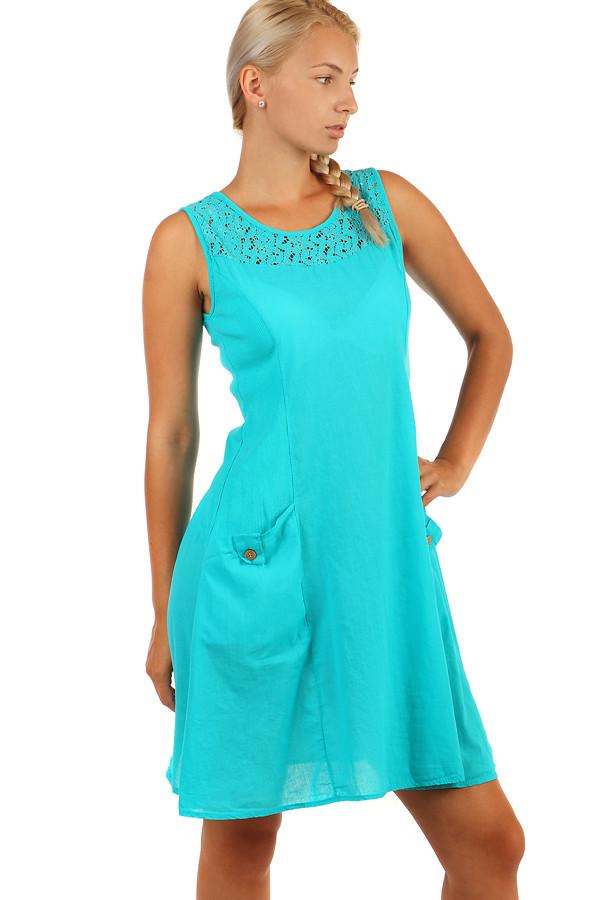 Bavlněné letní šaty s krajkou a výraznými kapsami 75132d4a7a