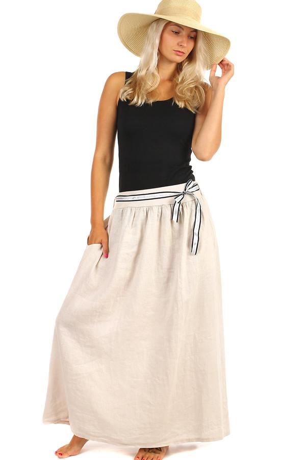0c28db6931 Lněná dámská maxi sukně s kapsami