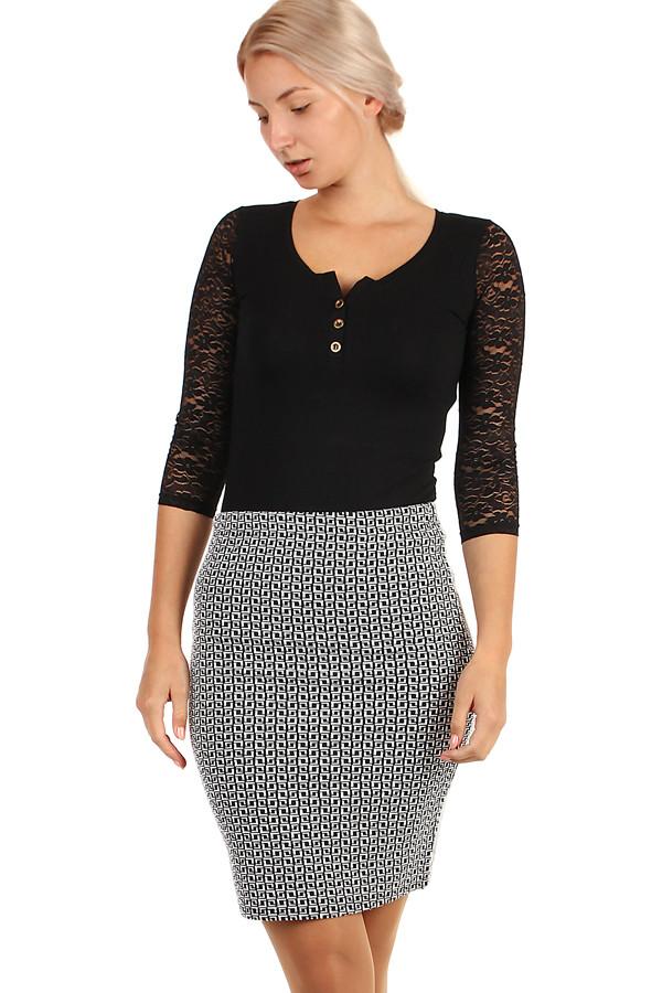 c9307c4a815e Dámská pouzdrová sukně se vzorem - i pro plnoštíhlé