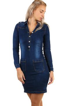 a43ba1053aa Dámské džínové šaty dlouhý rukáv 1485 Kč 895 Kč. XSY0025 Dámské džínové  mini šaty bez ...