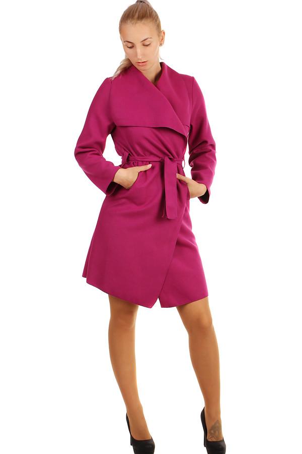 Dlouhý dámský kabát - kardigan s páskem cadd1612750