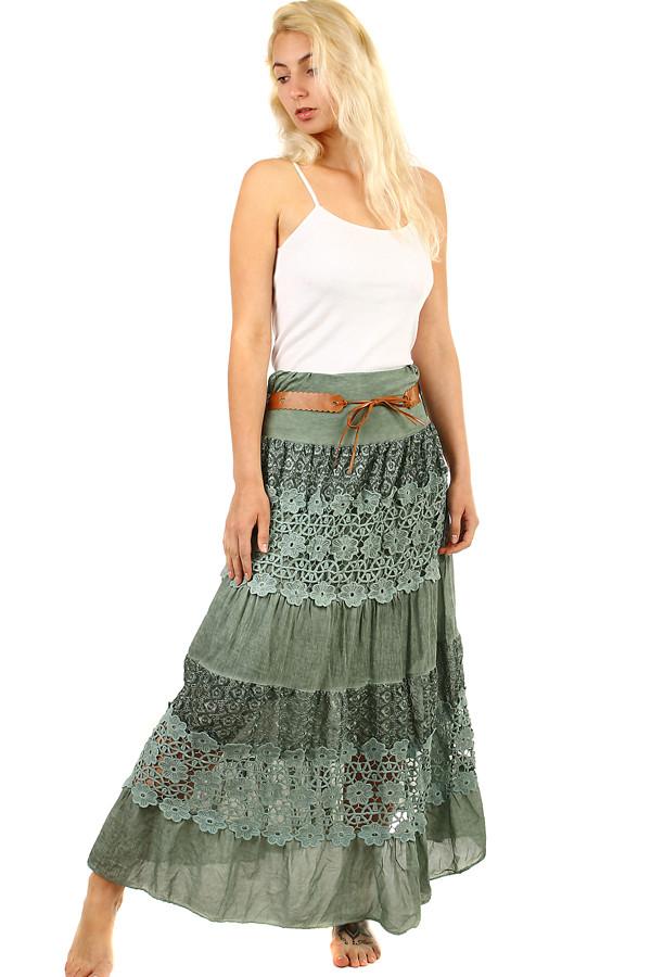 c92854b767f Dámská maxi sukně s krajkou