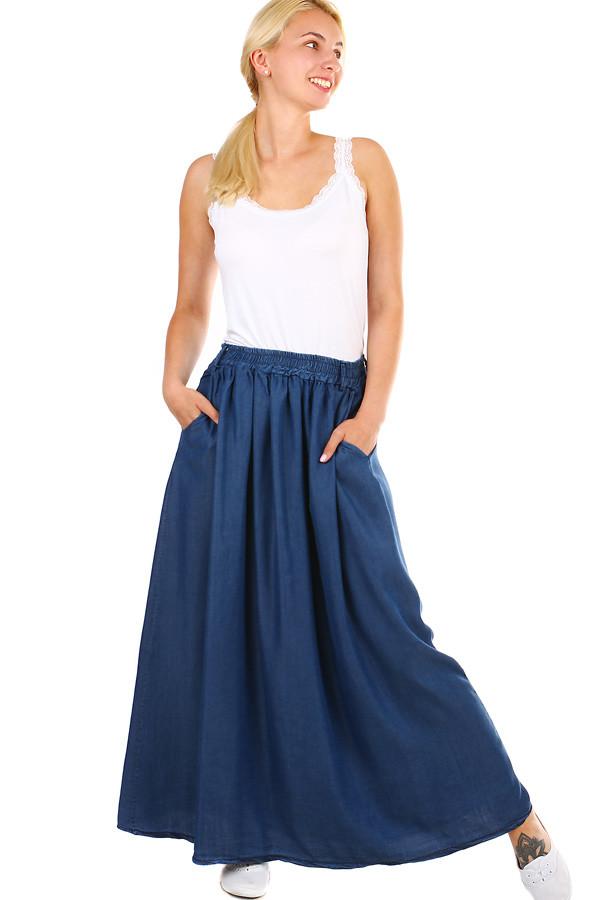 3621bdd7e Dlouhá riflová dámská sukně s kapsami