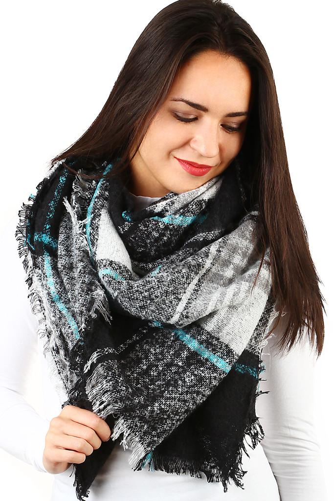 Zimní kostkovaný šátek ae9ea11dbb