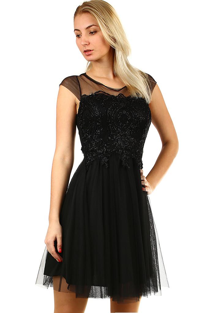 Společenské krajkové šaty s tylovou sukní bf8fa3c878