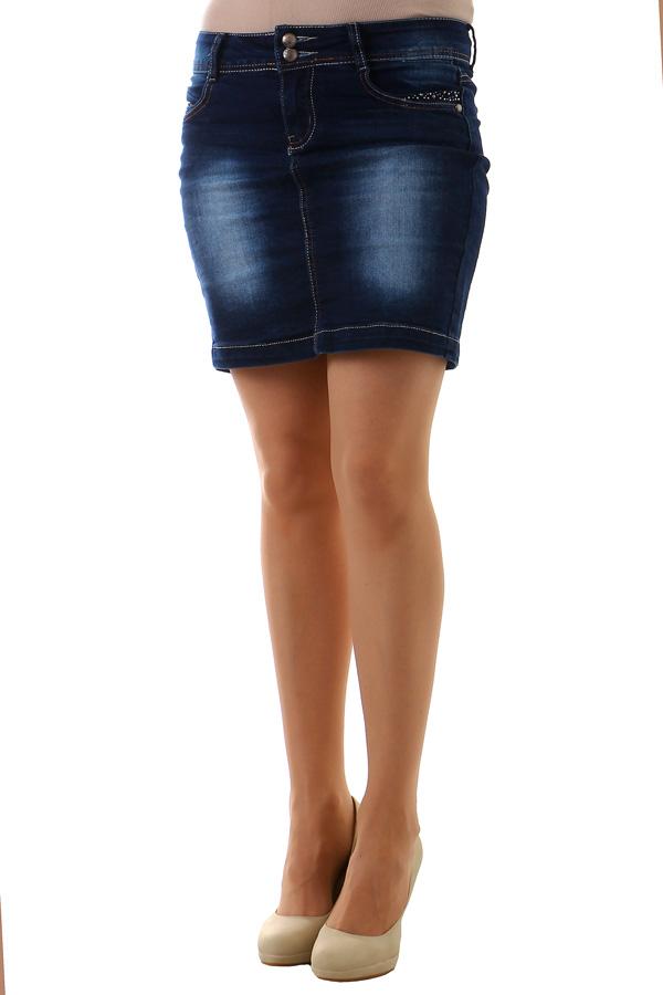 f51c3e36a7f Dámská riflová sukně s kamínky