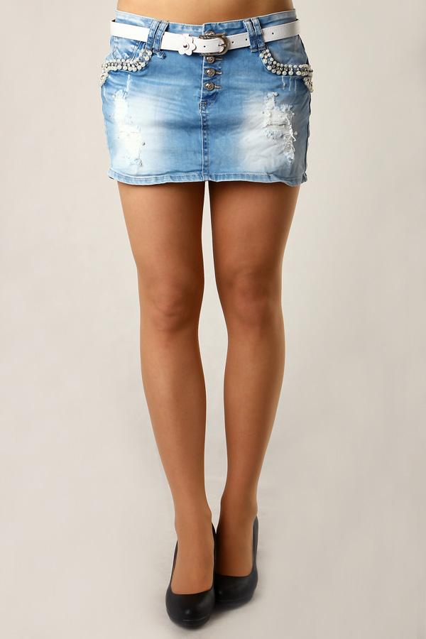 2fbc50031e1 Dámská džínová sukně s aplikací