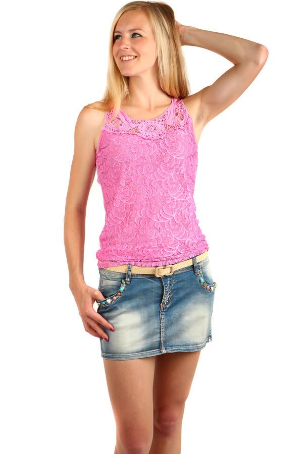 ece48f3471c Dámská riflová sukně s barevnými kamínky