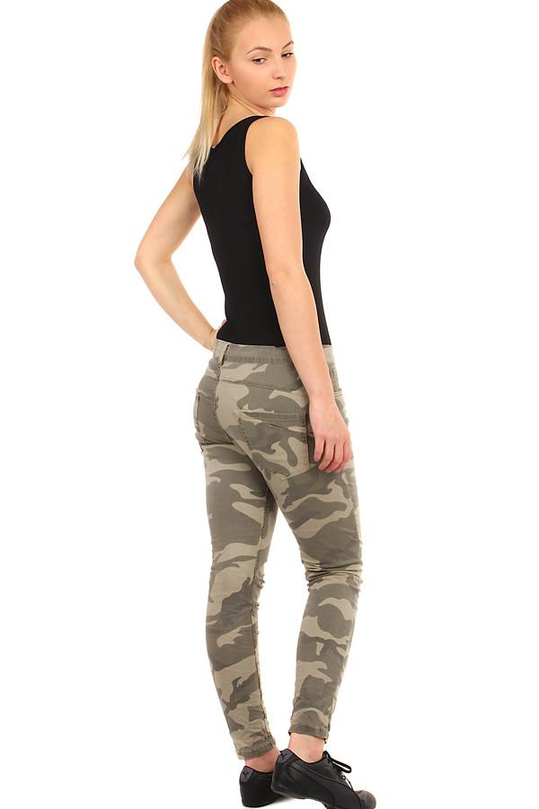 Dámské úzké kalhoty s army potiskem ebfcbf38a7