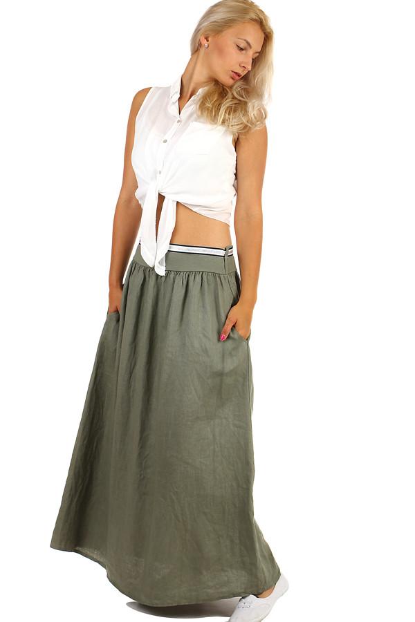 9568c33908e Lněná dámská maxi sukně s kapsami