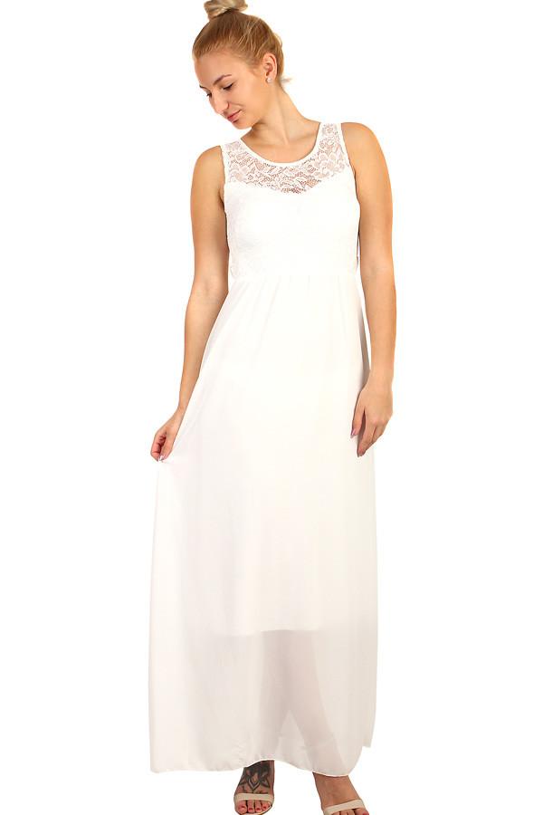 Dlouhé šifonové šaty s krajkou 571af1f4f3