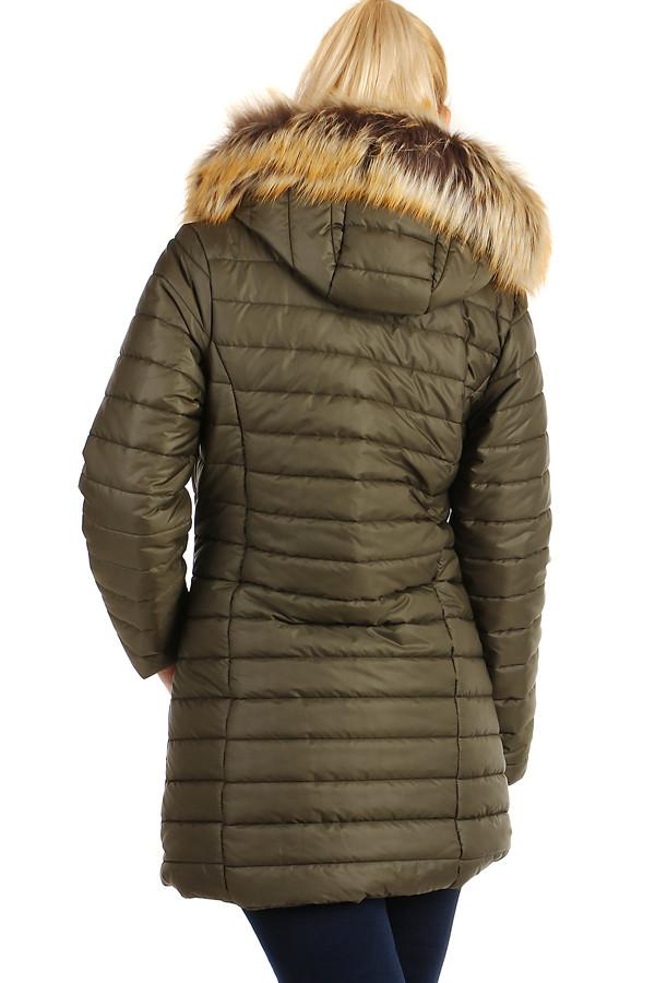 Zimní prošívaný dlouhý kabát s kožíškem 2386288351