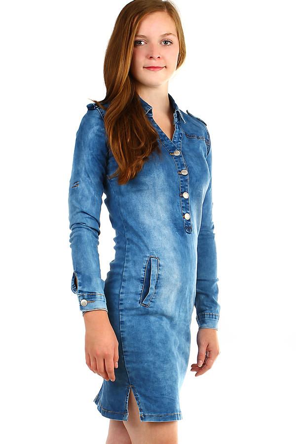 Dámské džínové šaty s dlouhým rukávem 13907a174cd