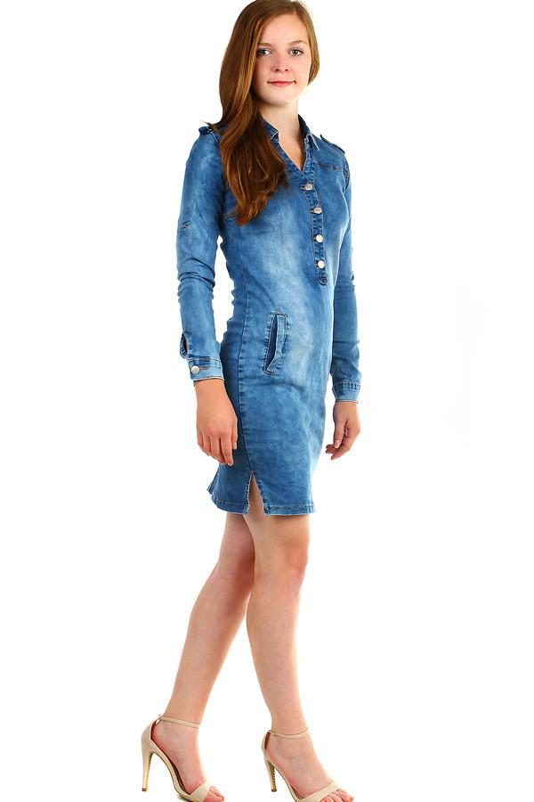897efa595c30 Dámské džínové šaty s dlouhým rukávem