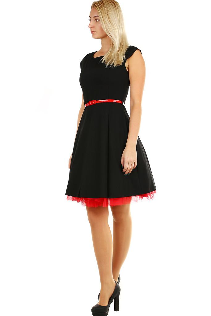 f0913bd6d6d Retro dámské společenské černé šaty s páskem