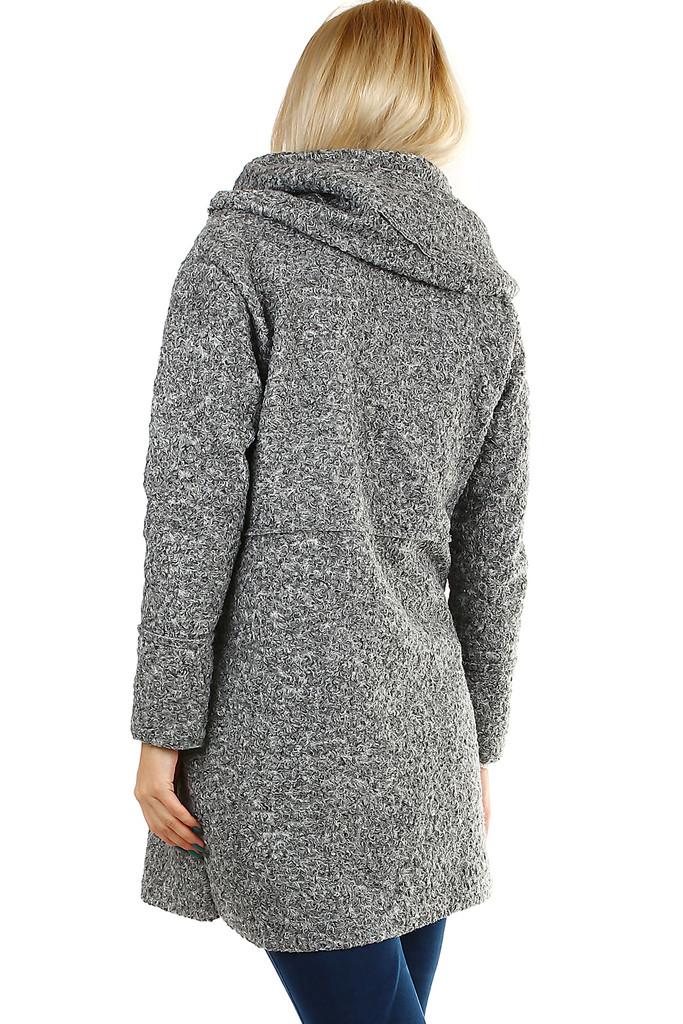 08e0131325 Šedý dámský kabát s kapucí ve vlněném vzhledu