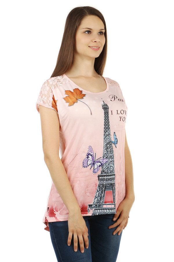 Dámské volné tričko s potiskem Paříž 790cb92869