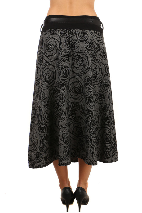 416c8ce3a07 Dámská maxi zimní sukně s kytičkama
